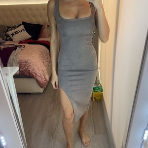 Misguided Suede Grey Dress